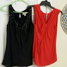 2 tank bundle Black silk Ann Taylor Loft has sequins around neckline. Red is rayon/spandex blend with twist at neckline. And very comfortable. Tops Tank Tops