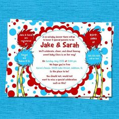 Dr Seuss Baby Shower Ideas | Dr Seuss Baby Shower Invitation 2 Red Blue ... | Birthday Party/Sh…