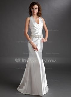 Mother of the Bride Dresses - $132.69 - A-Line/Princess Halter Sweep Train Charmeuse Mother of the Bride Dress With Ruffle Beading (008016744) http://jenjenhouse.com/A-Line-Princess-Halter-Sweep-Train-Charmeuse-Mother-Of-The-Bride-Dress-With-Ruffle-Beading-008016744-g16744