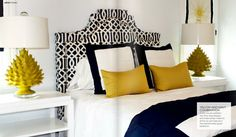 I looove this room from from Danielle Oakley Interiors.  I want to use navy yellow and white in our guest bedroom.