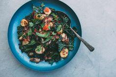 Flavors of Portugal: Warm Potato, Kale and Octopus Salad with Chorizo Vinaigrette.