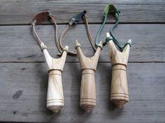 Wooden Slingshots Catapult Hand Made & Vintage