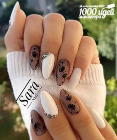 Black and White Valentines Nails - Ongles 02 Lace Nails, Glitter Nails, Fun Nails, Best Nail Art Designs, Simple Nail Designs, Nice Designs, White Nail Art, White Nails, Nail Art Blanc