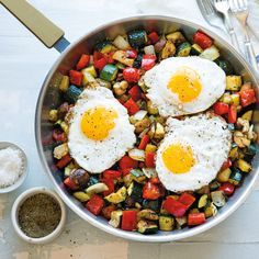This kitchen sink–style vegetable hash with fried eggs can be made using any produce you have on hand. Serve with buttered toast or buttermilk biscuits.