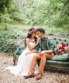 Vintage boho jewel tone wedding