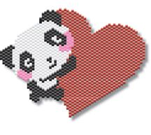 Adorable Panda Love by Megan's Beaded Designs Includes realistic thumbnail and enlarged pattern for easy following. Uses only 4 bead colors. Use as the front of a small, sculptured amulet, and a necklace pendant, or a small ornament. Great for a valentine's day gift, or any time of the year you want to show your love to someone! Designer: Megan's Beaded Designs