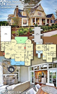 Architectural Designs Home Plan gives you 4 bedrooms, 4 baths and sq. Architectural Designs Home Plan gives you 4 bedrooms, 4 baths and sq. Craftsman House Plans, New House Plans, Dream House Plans, House Floor Plans, My Dream Home, Family Home Plans, Casas The Sims 4, House Blueprints, Farmhouse Plans