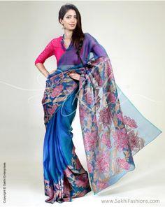 Blue and pink organza saree, Rs.10,500.....buy at sakhifashions.in