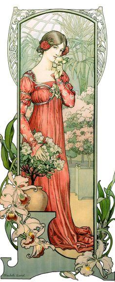 "Mucha Style - "" Fleur Des Serre"" Illustration in style of ""Alphonse Mucha"" by ""Elisabeth Sonrel Motifs Art Nouveau, Art Nouveau Mucha, Alphonse Mucha Art, Art Nouveau Poster, Art Nouveau Design, Art Design, Art Nouveau Flowers, Art And Illustration, Illustrations"