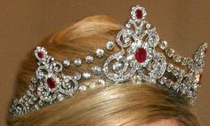 Tiara from the Mellerio Ruby Parure which was a gift from King Willem III to his second wife, Queen Emma, in 1889. (The Netherlands) (Pictures of the complete parure on the source.)