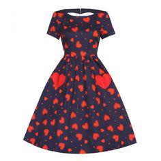 Brittany Navy Heart Print Swing Dress   Vintage Style - Lindy Bop