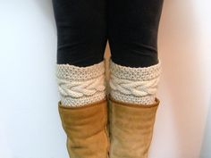 2 Knitting Pattern Grace Cable Boot Cuffs Pattern por LewisKnits