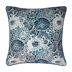 Delcia Denim Cushion - 50cm  This custom cushion cover features William Yeoward Delcia fabric in Denim and fabric for the back and piping. The unique floral design is digitally printed onto a viscose linen union.  #cushion #cushioncovers #designerfabrics #williamyeoward #homedecor #softfurnishings #nochintz