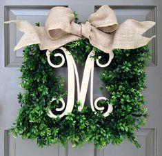 Monogram Square Faux Boxwood Wreath (1-italics-natural) - Creative Decorations by Ridgewood Designs
