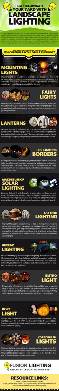 How To Illuminate Your Yard With Landscape Lighting - Garden Decor, Outdoor lighting - When you live in a home that comes with a front yard or a backyard, then keeping it well lit at all times is absolutely imperative. By doing so, you not only prevent the area from becoming infested with pests and rodents but you also transform it into a desirable place in which to spend time... #Garden #Infographic #Lamp #Lantern #Light #Lightning