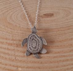 Sterling Silver Etched Turtle Necklace £10.00