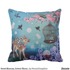 Shop Sweet Blossom, Cotton Throw Pillow created by PiecesofJosephine. Accent Pillows, Throw Pillows, Sweet Blossom, Custom Pillows, Cotton Fabric, Make It Yourself, Artwork, Kids, Gender