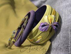 """Купить Комплект браслетов """"Фиолетовый ирис"""" из полимерной глины - фиолетовый, зелёный, хаки, болотный, сиреневый"""