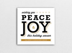 Peace & Joy Holiday Card in Gold - Corporate or Family by GennaCowsert // Christmas Card // gold, black, white