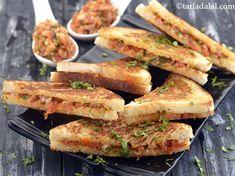 Tarla Dalal Recipes : Quick Sandwich Recipe, Veg Tava Sandwich Recipe by Tarla Dalal - Tarla Dalal Recipes Video Tarla Dalal Recipes Quick Sandwich Recipe, Recipe Link : Veg Sandwich, Sandwich Recipes, Quick Sandwich, Grilled Sandwich, Sandwich Ingredients, Quick Snacks, Tasty Snacks, Vegetable Recipes, Indian Food Recipes
