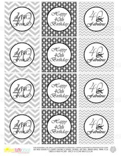 Printable 40th Birthday Black & Gray Birthday Cupcake Toppers, Sticker Labels & Party Favor Tags - Sunshinetulipdesign