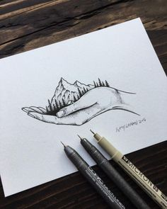 Drawing from earlier today. #illustration #mountains #art