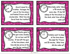 Elapsed Time Task Cards. Get students up and moving with these elapsed time word problems.