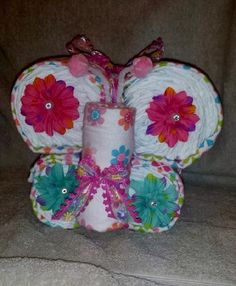 Diaper Butterfly Pink Theme Receiving Blankets Size 1 Diapers 4 Flower Hair Clips by DiaperDesignsByLLB on Etsy