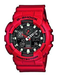 G-Shock GA-100B-4AER Men's Quartz Watch with Black Dial Analogue - Digital Display and Red Resin Strap