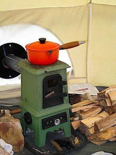The Pipsqueak is a charming little cast iron stove that's a perfect addition to yurts, canvas wall tents, tipis, small boats, tiny houses or other small spaces. Burning wood or coal the Pipsqueak u… Canvas Wall Tent, Diy Wood Stove, Small Stove, Tent Stove, Cast Iron Stove, Camper Hacks, Cabin Tent, Bell Tent, Tent Camping