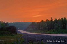 Trans-Canada Highway At Sunset_49791.jpg - Photographed on the north shore of Lake Superior in Ontario, Canada.