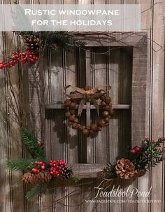 Turn This Boring Wood Window Frame Into Something Special for Xmas Rustic Christmas, Christmas Home, Christmas Ideas, Primitive Christmas, Vintage Christmas, Window Frame Decor, Window Panes, Fall Crafts, Holiday Crafts