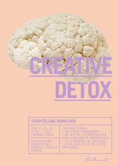 """Creative detox"" poster by Joseph Abi Saab (Leo Burnett, 2016) #detox #poster #leoburnett #design #advertising #poster #brain #vegetables"