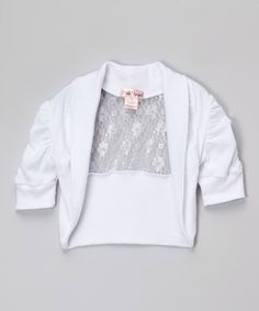 Look at this Pink Angel White Lace-Panel Shrug - Infant, Toddler & Girls on #zulily today!