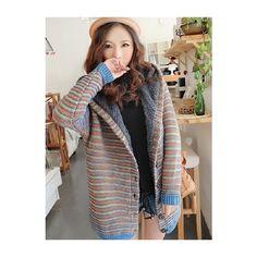 Women Blue Knitting Faux Fur Inside Long Sleeve Hooded Fashion... ($28) via Polyvore