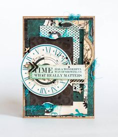 'Time' Card by Evgenia for Kaisercraft using August 'Time Machine Collection ~ Wendy Schultz ~ Cards 1.