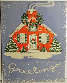 40s House Vintage Christmas Card