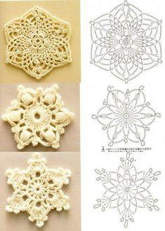Snowflake motivos / Crochet / Crochet para nachinayuschihMotivy floco de neve / Crochet / Crochet para Iniciantes | tricô | pós