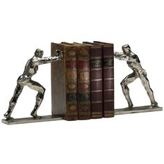 Cyan Iron Man Bookends found on Polyvore