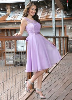 Adorable lilac bridesmaid dress features strapless sweetheart underskirt in illusion sheer lace overlay, coupling with a-ling short chiffon skirt finished look. Colored in lilac.