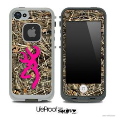 Hot Pink Camo V8 Browning Skin for the iPhone 4/4s or 5 LifeProof Case on Etsy, $9.99