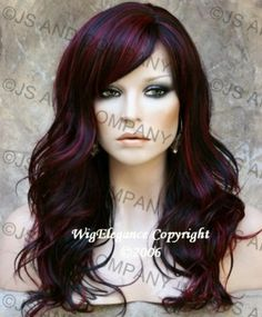Sexy LONG WAVY Burgundy Highlight Black Mix Wig JSPP 1B-burg US Seller