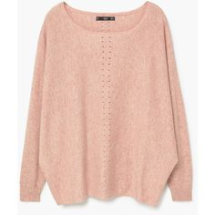 MANGO Cotton Sweater (€35) ❤ liked on Polyvore featuring tops, sweaters, red top, cable knit sweater, red sweater, bat sleeve sweater and long red sweater