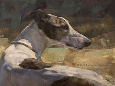 To See Beyond by Kathleen Coy Oil ~ 9 x 12, greyhound