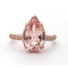 Pink Morganite Diamond Ring (£2,705) ❤ liked on Polyvore featuring jewelry, rings, pear shape ring, pink diamond jewellery, diamond jewelry, diamond jewellery and pear shape diamond ring
