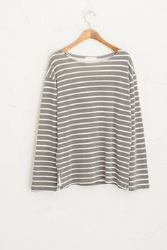 Loose Neck Stripe Tee, Charcoal