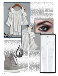 """""""white and gray shirt contest"""" by teto000 ❤ liked on Polyvore featuring WithChic, Edit, Polaroid and La Prairie"""