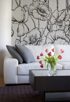 Black and White Illustrated Flowers Mural from £23.50 per square metre - Murals Wallpaper.co.uk