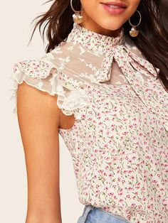 To find out about the Ditsy Floral Tie Neck Embroidered Mesh Yoke Top at SHEIN, part of our latest Blouses ready to shop online today! Cute Blouses, Blouses For Women, Fashion Wear, Hijab Fashion, Blouse Styles, Blouse Designs, Ditsy Floral, Floral Tops, Embroidery Fashion