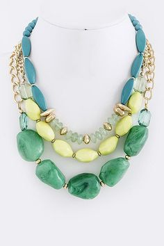 Multi Triple Layer Stone Necklace. Green, yellow, blue